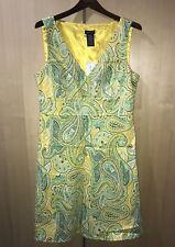 SPENSE Yellow & Green Paisley Print Dress Sleeveless V Neck SZ - Missy 14 NWT
