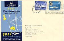 SINGAPORE 1957 FIRST FLIGHT BOAC Britannia Turbo-Prop Airliner SINGAPORE-LONDON