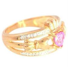 Claddagh Pink Topaz 20 Diamond 9 K Solid Gold Celtic Ring 30 Day REFUNDS