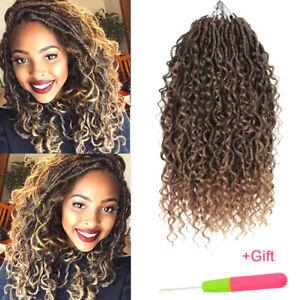 "14-22"" Curly Goddess Faux Locs Crochet Twist Braids River Locs Hair Extensions"