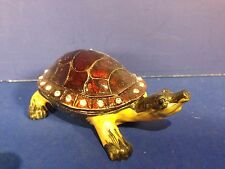TURTLE TRINKET RING BOX Jeweled Crystal Enamel Hinged COMBINE SHIPPING!