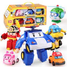 6 St. ROBOCAR Poli Cartoon Action Figuren Spielzeug AutoTransformers Roboter Neu