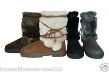 womens ladies girls ella boots fur lined  cosy for winter snow lace up snug ILW