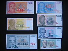 Yugoslavia Set: 7 banknotes 10 - 10000000 Dinara 1994 (p138a-p144a) UNC