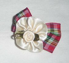 Dog Hair Bow - NEW - Pretty Cute Puppy Accessory clip on Checkered Red + Flower