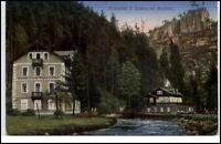 1927 Stempel HOHNSTEIN a/ AK Polenztal Sachsen Hotel zum Polenztal mit Hockstein