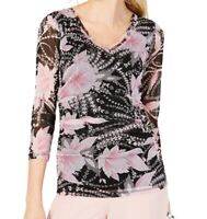 INC Womens Blouse Black Pink Size Small S Floral-Print Mesh V-Neck $54 043