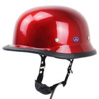 DOT German Motorcycle Half Helmet Skull Cap Scooter Chopper Red S/M/L/XL/2XL