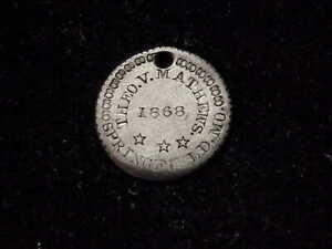 1868 Springfield, MO Theo V. Mathews counterstamp Missouri ID tag on silver coin
