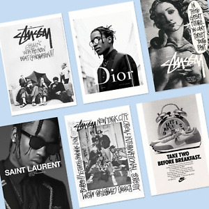 Pack of 6 Dior Stussy Fashion A5 Posters Music Print Wall Art HipHop Streetwear