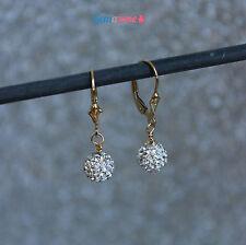 8MM Shamballa Rhinestone Crystal Pave Beads Disco Dangle Drop Gemstone Earrings