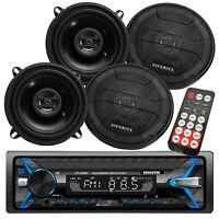 "Audiotek AT-249BT Digital Receiver Bluetooth + 4x Hifonics ZS525CX 5.25"" Speaker"