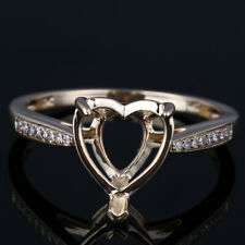 Fine Jewelry Semi Mount Heart 9x9mm Diamonds Ring Setting Solid 10k Yellow Gold