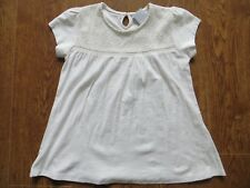 BNWT Girls Cream 100% Cotton Short Sleeve Lace Detail Top T Shirt Age 12 yrs