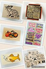 38 Scrapbooking supplies mounted wooden rubber stamps mixed lot