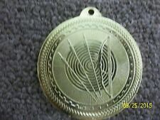 """Archery medal bright gold, about 2"""" diameter, individual award, New with ribbon"""
