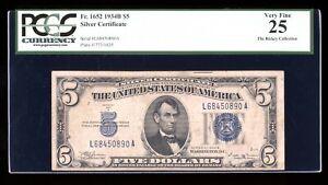 DBR 1934-B $5 Silver Fr. 1652 Vinson LA Block PCGS 25 Serial L68450890A
