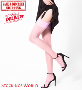 Pink Stockings Sheer With Deep Welt Powder Pink - NEW Fast delivery