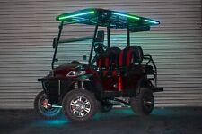 New Custom Burgundy Advanced EV 48V Electric Golf Cart Lifted 4 Passenger Discs