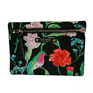 Kate Spade Jardin Hummingbird Floral Black Multi Small Drewe Clutch Pouch