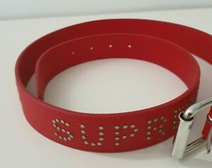 NEW SS18 Supreme studded logo red leather belt size S / M