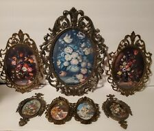 """Lot of 7 Vintage Brass Ornate Oval Picture Frames Floral Made in Italy 13"""",9"""",6"""""""