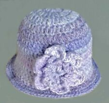 CROCHETED BABY GIRL WINTER CLOCHE HAT gift photoprop lilac flower winter 11 brim