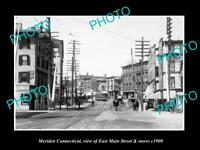 OLD LARGE HISTORIC PHOTO OF MERIDEN CONNECTICUT, THE MAIN St & STORES c1900