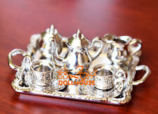 SILVER METAL Dinnerware Royal Coffee Cup Plate SET 1:12 Dollhouse Miniature