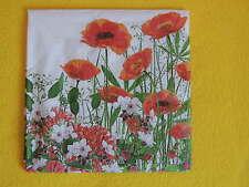 5 Servietten Klatschmohn Mohn Blumen Serviettentechnik Poppy POLLY LINEN