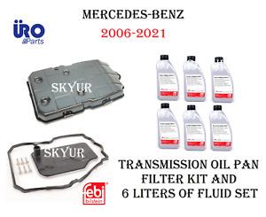 7-Speed Auto Transmission Oil Pan+Filter+Gasket+6 Liters Fluid Set For Mercedes