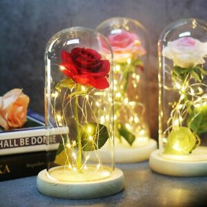 Rose Glass Lamp LED Lighted Golden Flower Christmas Valentine Gift For Her