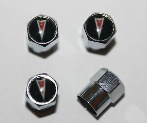 Pontiac Black & Red Tire Valve Caps Wheel - Plus Free Extra Cap - Total 5 Caps
