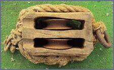 ANCIENNE GROSSE POULIE DE BATEAU BOIS ET CORDAGE DEUX REAS