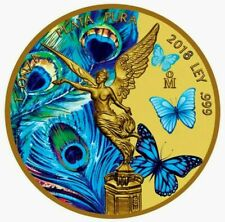 2018 SilverMexican Libertad-Butterflies & Peacock Colorized and Gold Gilded Coin