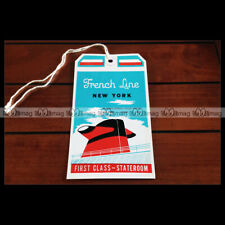 PAQUEBOT SS FRANCE ETIQUETTE BAGAGE LUGGAGE TAG CGT FRENCH LINE OCEAN LINER 2