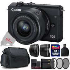 Canon EOS M200 Mirrorless Digital Camera Black with 15-45mm + Top Accessory Kit