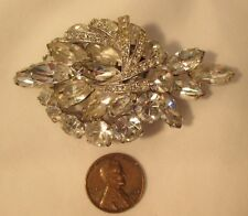 "SIGNED WEISS LARGE 2.75"" VINTAGE MARQUISE & ROUND RHINESTONE PRONG SET BROOCH"