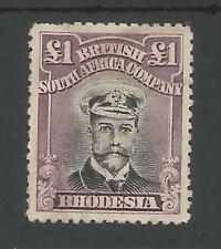 RHODESIA ,BRITISH S.A. CO  SG279  the 1919 GV £1  DIE 3 P14  UNUSED CAT £600