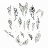 Vintage Silver Metal Mixed Feather Charms Jewelry Making Fashion DIY Handmade