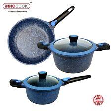 Blue Stone Cookware Set, Non-stick Frypan, Saucepan,Casserole, Induction, 5pc