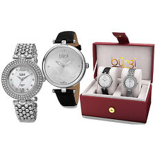 Burgi Women's All About The Details Leather and Bracelet Strap Watch Box Set of