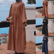 Women Muslim Abaya Kaftan Puff Sleeve Crew Neck Loose Solid Long Shirt Dress NEW