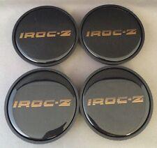 1985 1986 1987 Chevy Camaro IROC-Z Wheel Center Hub Cap Black w/ Gold IROCZ SET