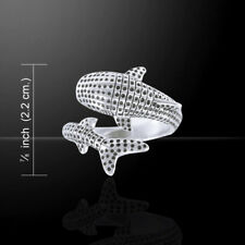3D Whale Shark Wrap Sterling Silver Ring by Peter Stone Unique Fine Jewelry