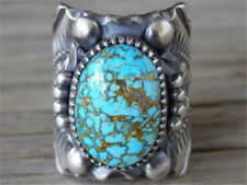 Vintage Silver Antique Turquoise Stone Ring Tribal Gipsy Boho Fine Jewelry 6
