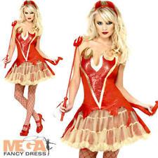 Sexy Devil Ladies Halloween Fancy Dress Adults Demon Satan Womens Costume Outft