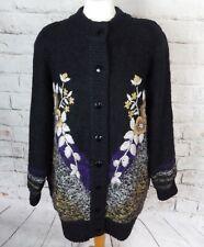 Vintage lined mohair blend embroidered cardigan coatigan 18 L Large black floral