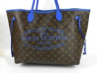 LOUIS VUITTON Ikat Flower Neverfull GM Tote Shoulder Bag Monogram Blue V-3963