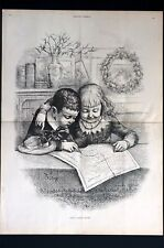 Christmas 1885 SANTA CLAUSES ROUTE Children w NORTH POLE Map Large Engraving